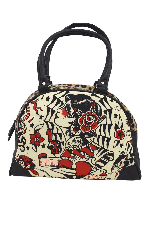 Liquor Brand El Fin Flash Gypsy Girl Tattoo Art Bowling Bag Purse Handbag