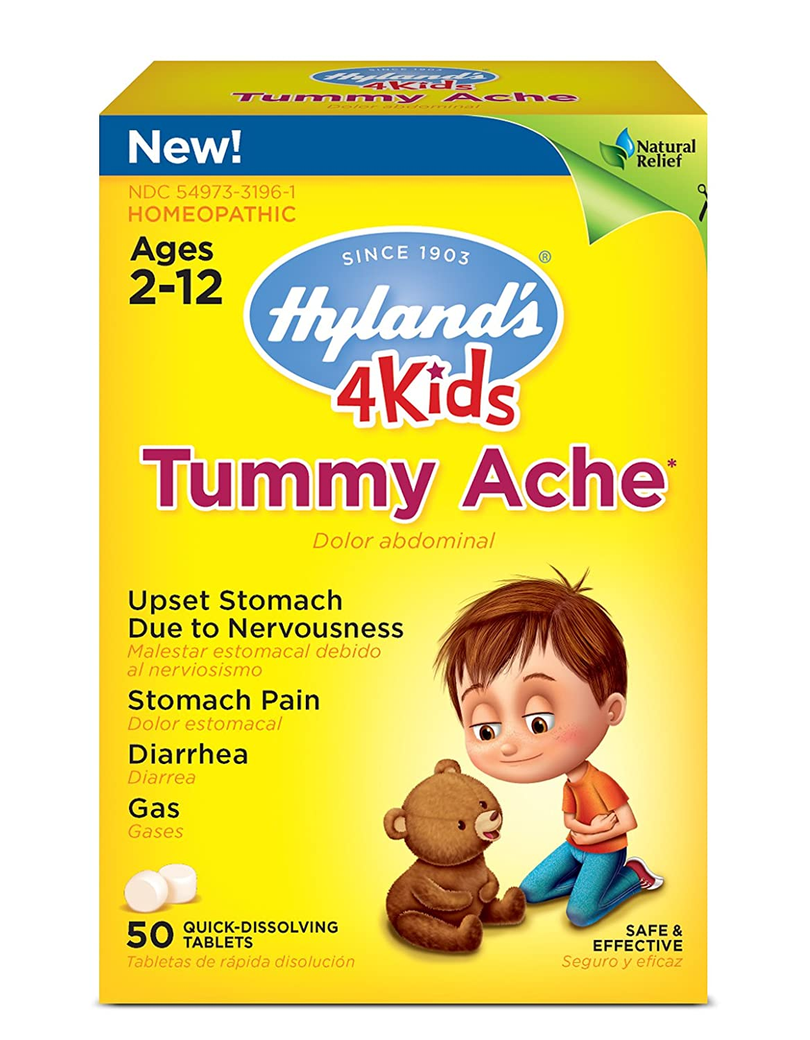 Hyland's 4 Kids Tummy Ache Tablets, Natural Relief of Upset Stomach,  Diarrhea and Gas for