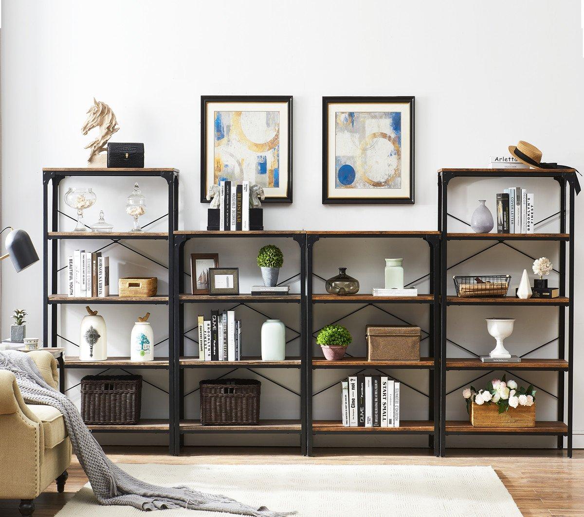 "O&K Furniture 4-Shelf Industrial Vintage Bookcase, Metal Bookshelf, 48""H x 33""W x 13""D, Barn-Wood Finish by O&K Furniture (Image #8)"