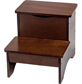Wooden Step Stool with Storage by OakRidgeTM. Amazon com  Kings Brand Cherry Finish Wood Bedroom Bed Storage