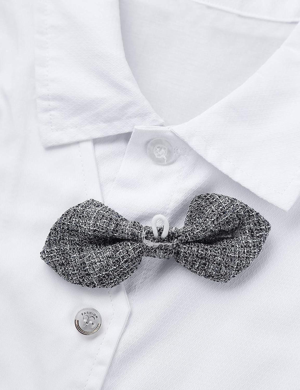 iiniim Baby Boys Gentleman Formal Shirt Waistcoat with Bowtie Collar Short Sleeve Tuxedo Romper Jumpsuit One-Piece Outfit