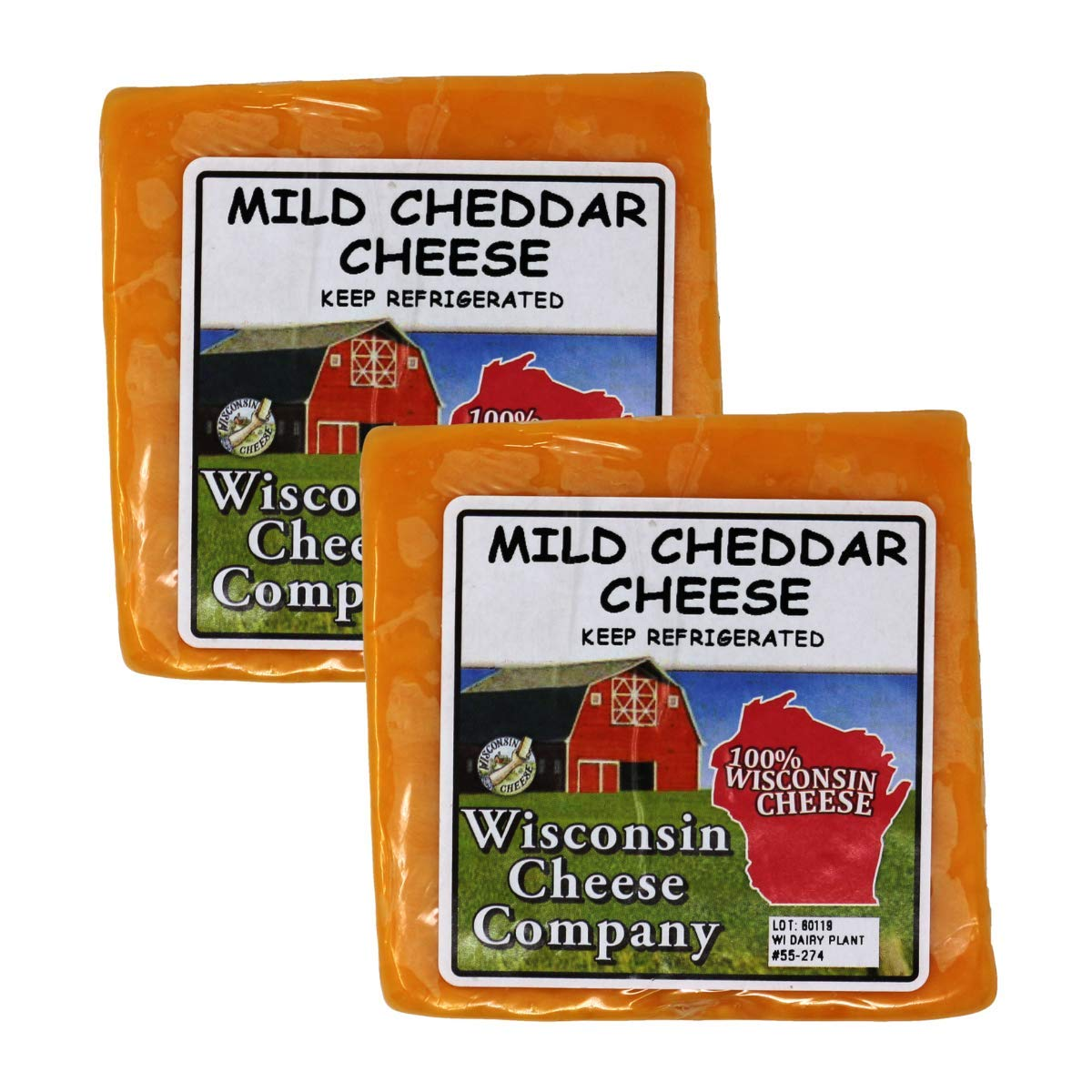 WISCONSIN CHEESE COMPANY - Fresh Healthy Mild Cheddar Cheese Block Snacks. (2 Pack) Approx 2lbs, 100 % Wisconsin Cheddar Cheese Package, Healthy Snack or Gift to Send. Mild Cheddar.