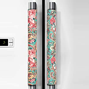 "Ougar8 Refrigerator Door Handle Covers Handmade Decor Protector for Ovens, Dishwashers.Keep Your Kitchen Appliance Clean From Smudges, Food Stains (Retro Rose, 14.5""4"")"
