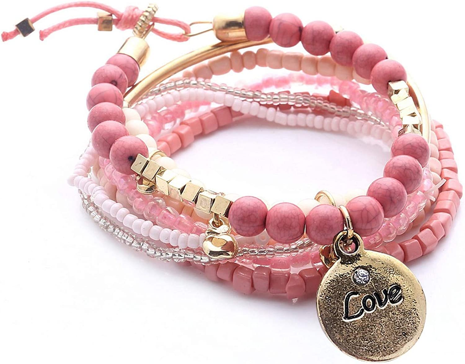 monicaexclusive Bohemia of Multilayer Elastic Weave Set Bracelets /& Bangles with Coin Charm Wrap Beads Bracelet