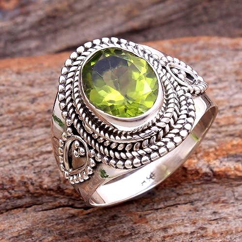 82c06de75208e Amazon.com: Pretty Peridot Gemstone cute Ring 925 Sterling Silver ...