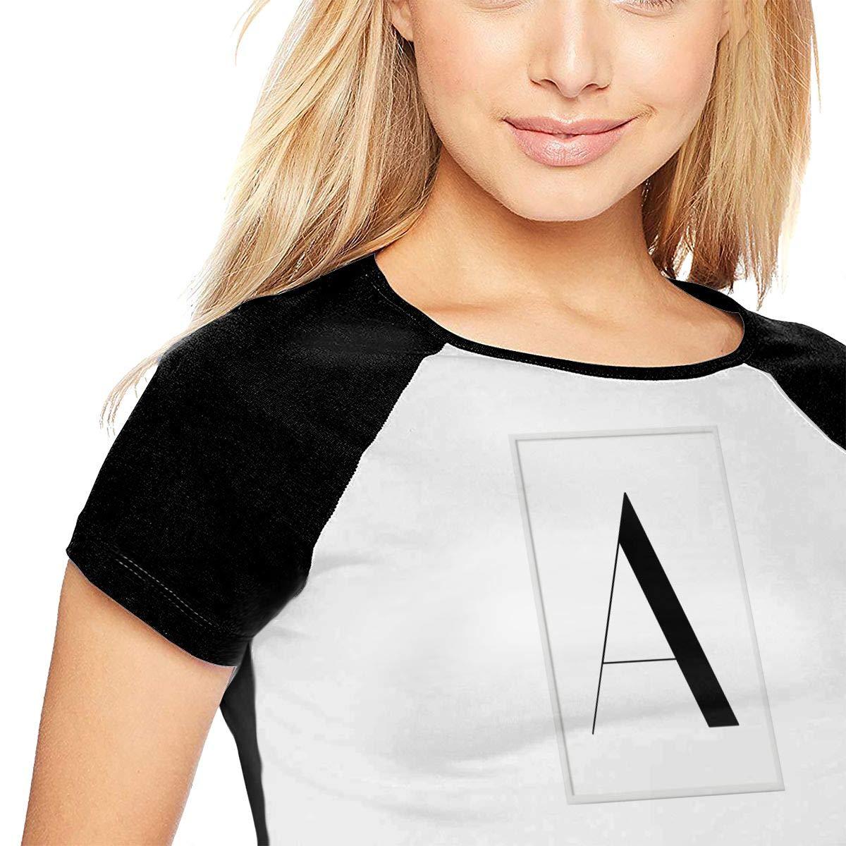 IofuGofu Letter Print Womens Personalized Fashion Casual Baseball Short-Sleeved T-Shirt