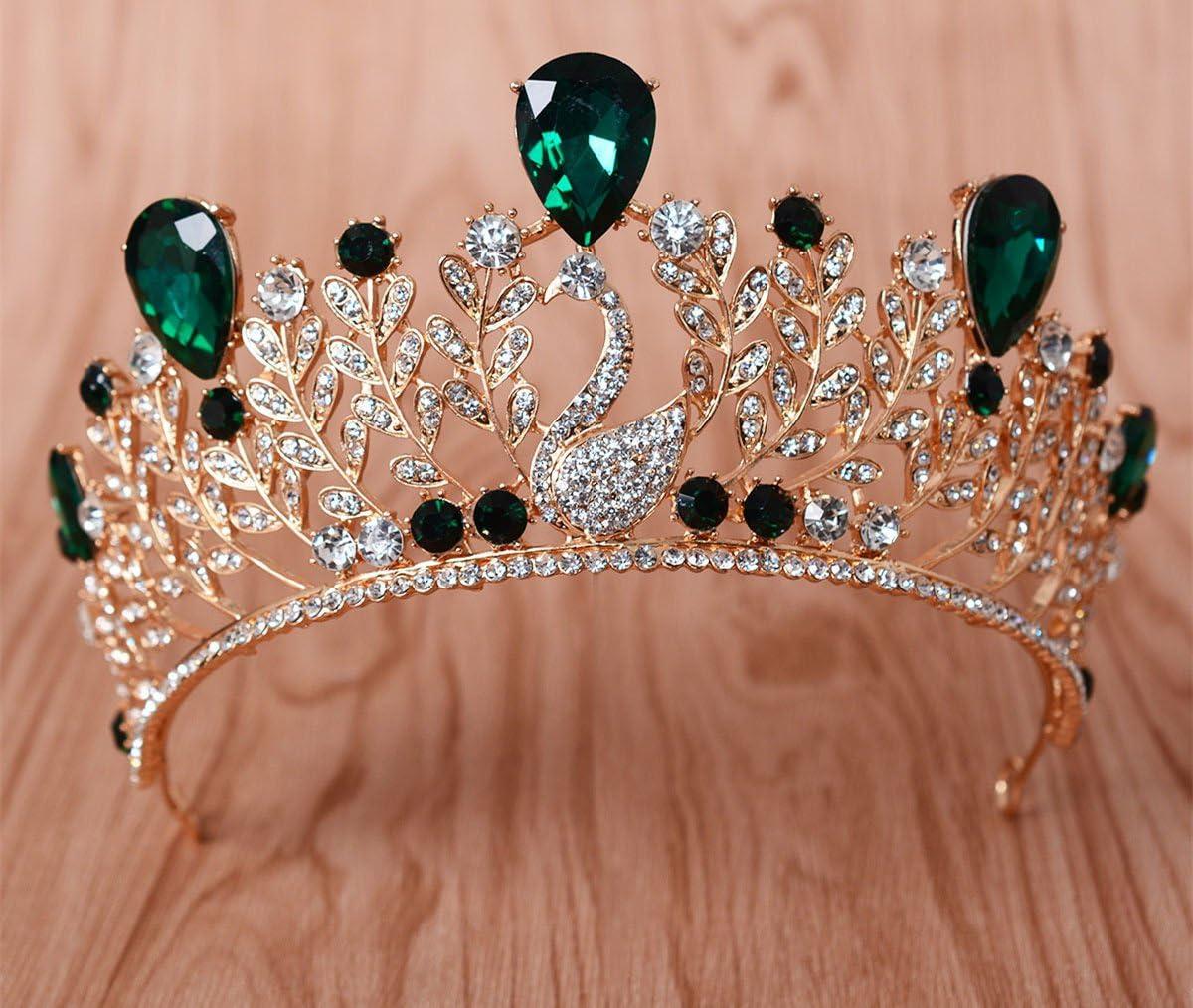 kphy-coreano Corona Joyas Novia Azul Phoenix Corona Reina Princesa cabeza Ornamento Corona Fase Ornamento Vestido Accesorios, verde: Amazon.es: Deportes y aire libre
