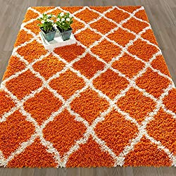 "Ottomanson Ultimate Shaggy Collection Moroccan Trellis Design Shag Rug Contemporary Bedroom Soft Shaggy Area Rug Kids Rugs, Orange, 39"" LX 55"" W"