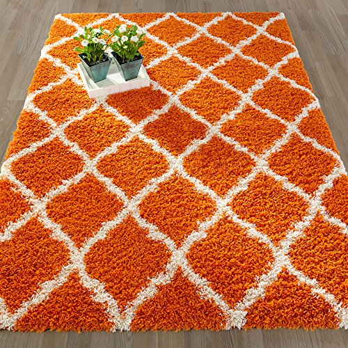 Ottomanson Ultimate Shaggy Collection Moroccan Trellis Design Shag Rug Contemporary Bedroom and  Living room Soft Shag Rugs, Orange, 5'3