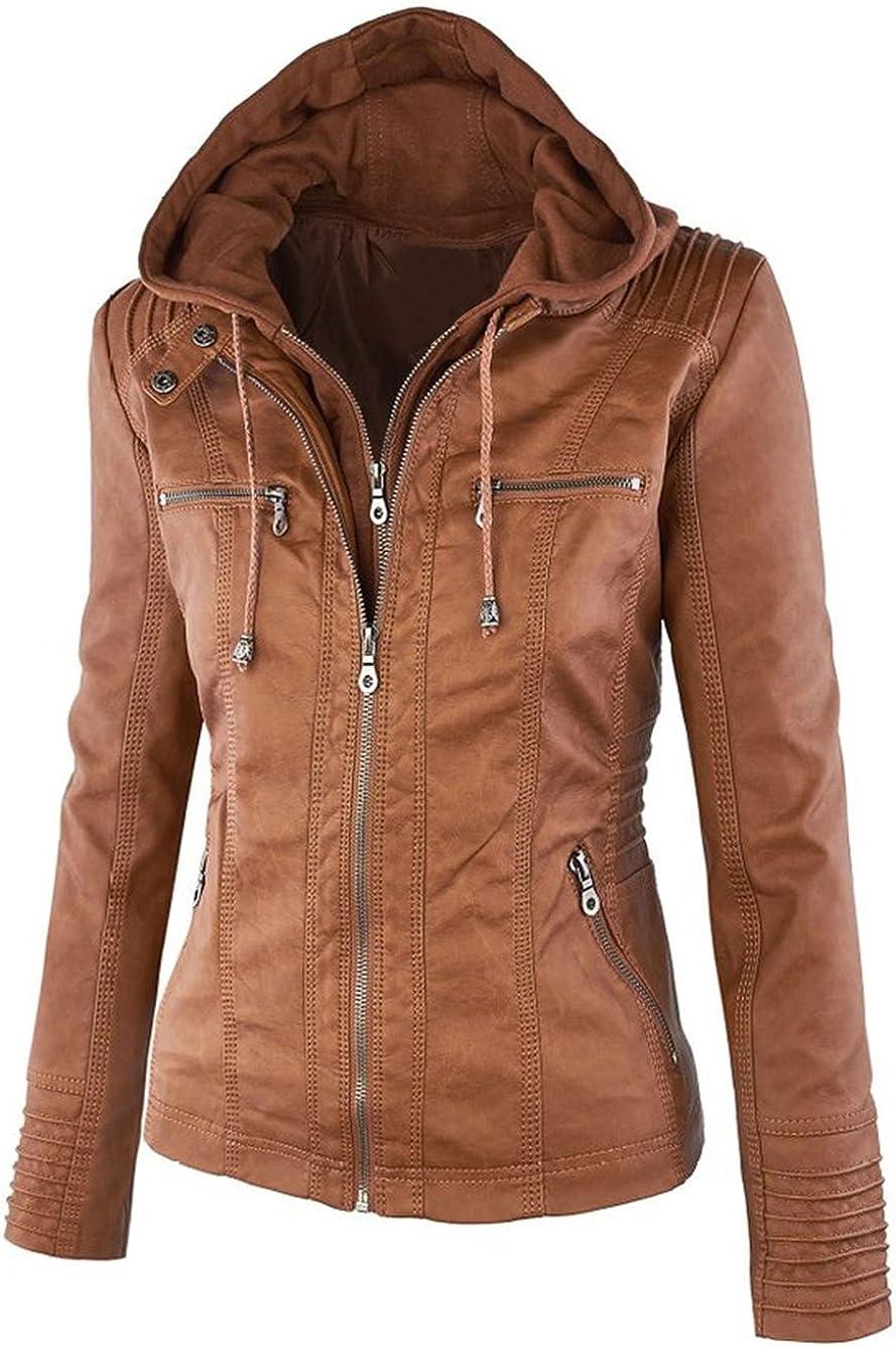 FANTIGO Mujeres PU cuero Zip Up con capucha Biker Bomber Chaquetas Outwear Classic Vintage abrigo de invierno