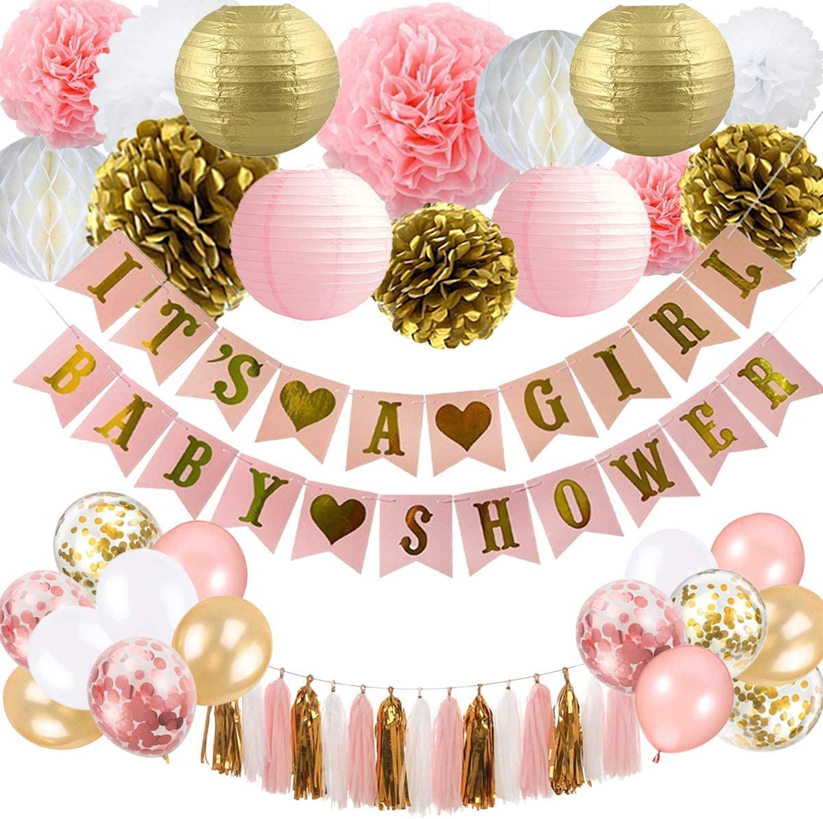 Party Plane Baby Shower Decorations for Girl Pink and Gold Baby Shower Favors, It's a Girl Banner, Paper Lanterns, Honeycomb, Tassels, Pom Poms, Nursery Room Decor