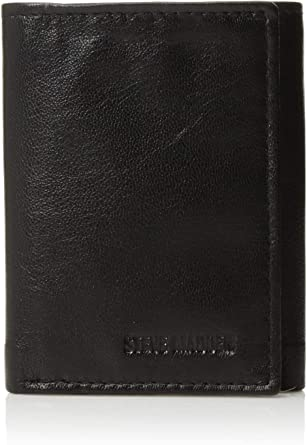 Steve Madden Men S Leather Trifold Wallet With Id Window Black One Size Amazon Co Uk Clothing