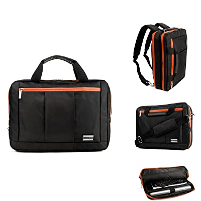 "Business Messenger Bag Briefcase Laptop Bag 11.6"" / 12.5"" / 13.3"" for Apple MacBook Pro / MacBook Air / Asus ZenBook 3 / Chromebook / Chromebook Flip C100 / Transformer Book Flip (Black/Orange)"