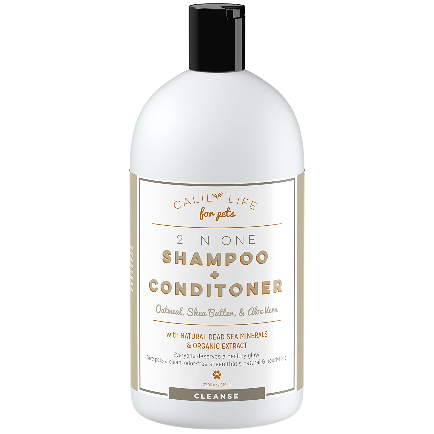 Calily Life Organic Dog and Cat Shampoo + Conditioner, 32.96 Oz ( Enriched with Oatmeal,Shea Butter and Aloe Vera)
