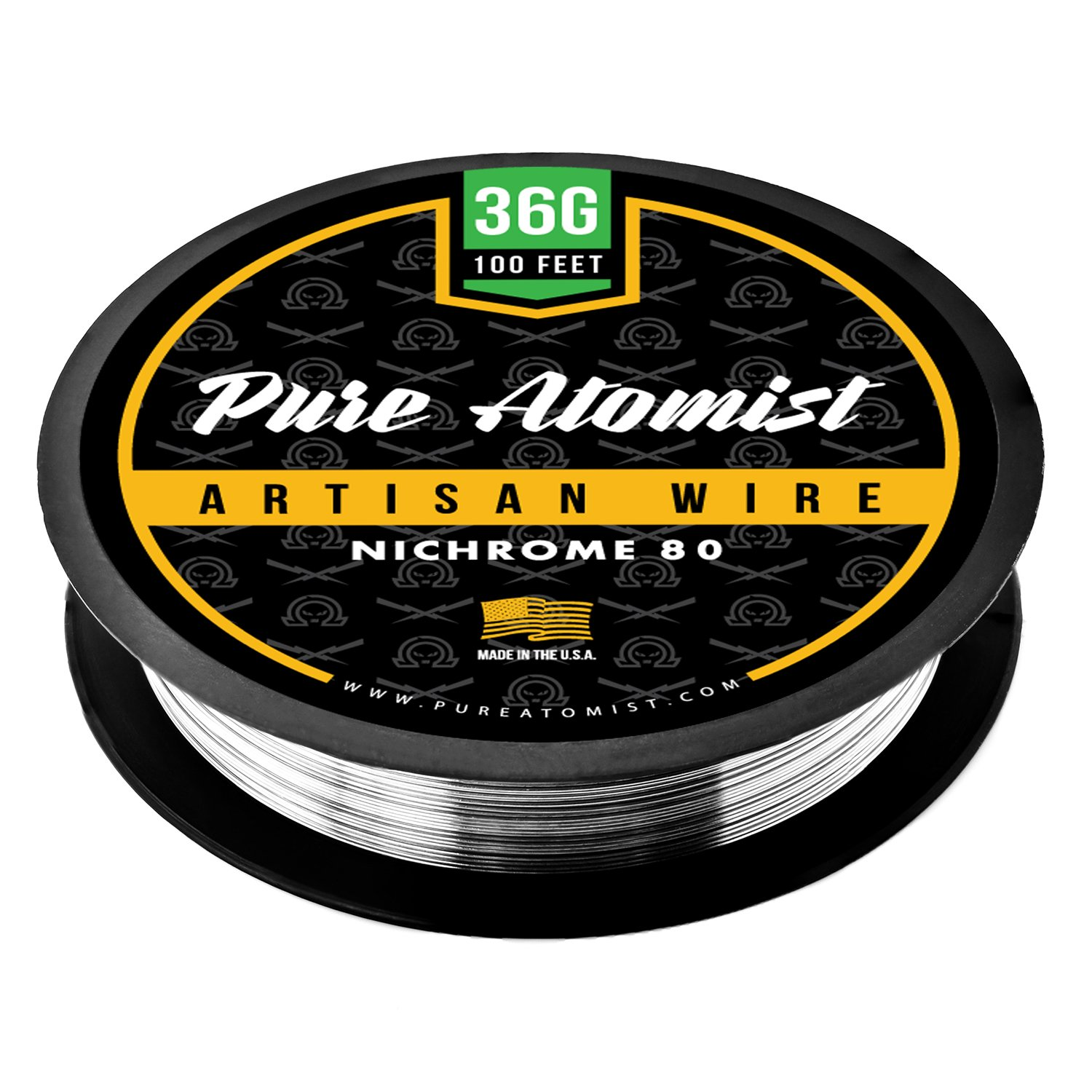 Pure Atomist Nichrome 80 36 Gauge AWG Round Wire Roll 0.127mm 36g Spool N80 PA-N80-36G100