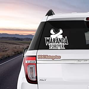 "Wakanda Forever Black Panther Decal Vinyl Sticker for MacBook Laptop Car Truck Window Bumper - Size Approx. 6"" inches Longer Side, White"
