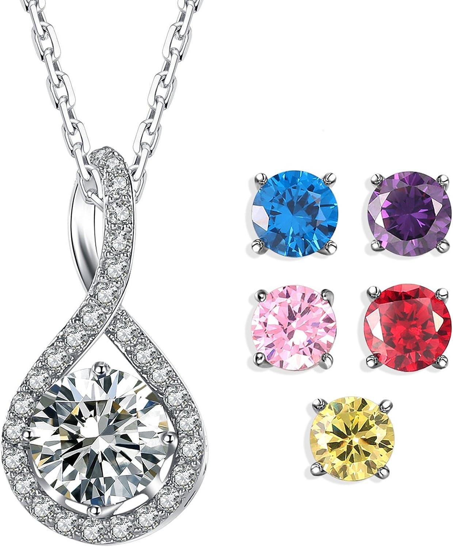 Caperci Infinito Collar para Mujer de Cobre Chapado en Oro Blanco con 5 Cristal Piedras Suertes 45cm Regalo de Joyería para Mujer