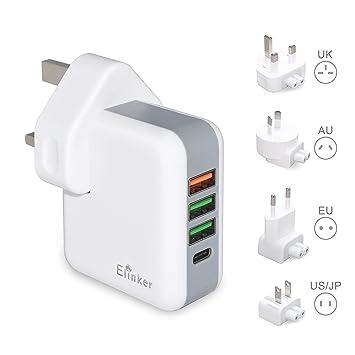 Cargador USB Elinker®4 puertos del adaptador 3.0 Tech Tipo C ...