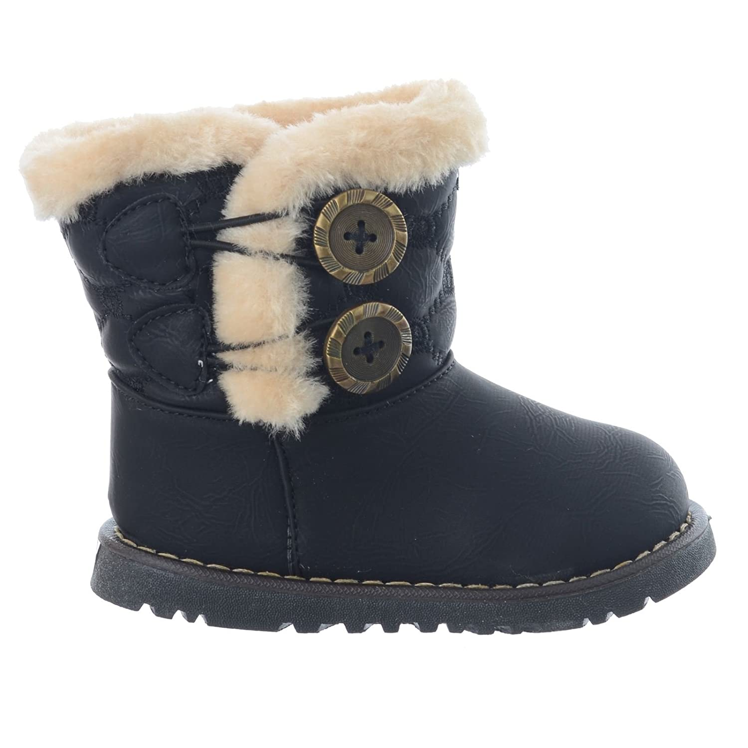 Miss Image UK Girls Infant Toddler Quilted Button Boots Shoes Warm Fur  Lined Winter Size 3-8 [Black UK 3 Infant]: Amazon.co.uk: Shoes & Bags