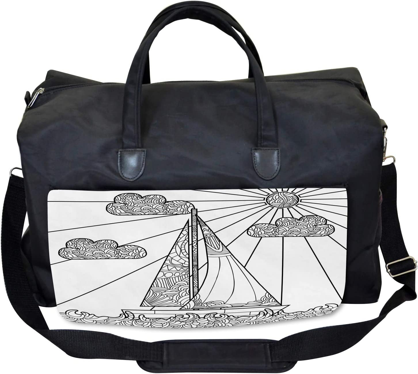 Ambesonne Nautical Gym Bag Large Weekender Carry-on Doodle Boat on Waves
