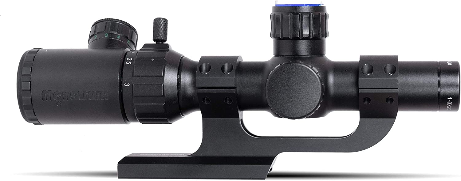 Monstrum 1-3x20 Rifle Scope with Rangefinder Reticle | ZR250 H-Series Offset Scope Mount | Bundle