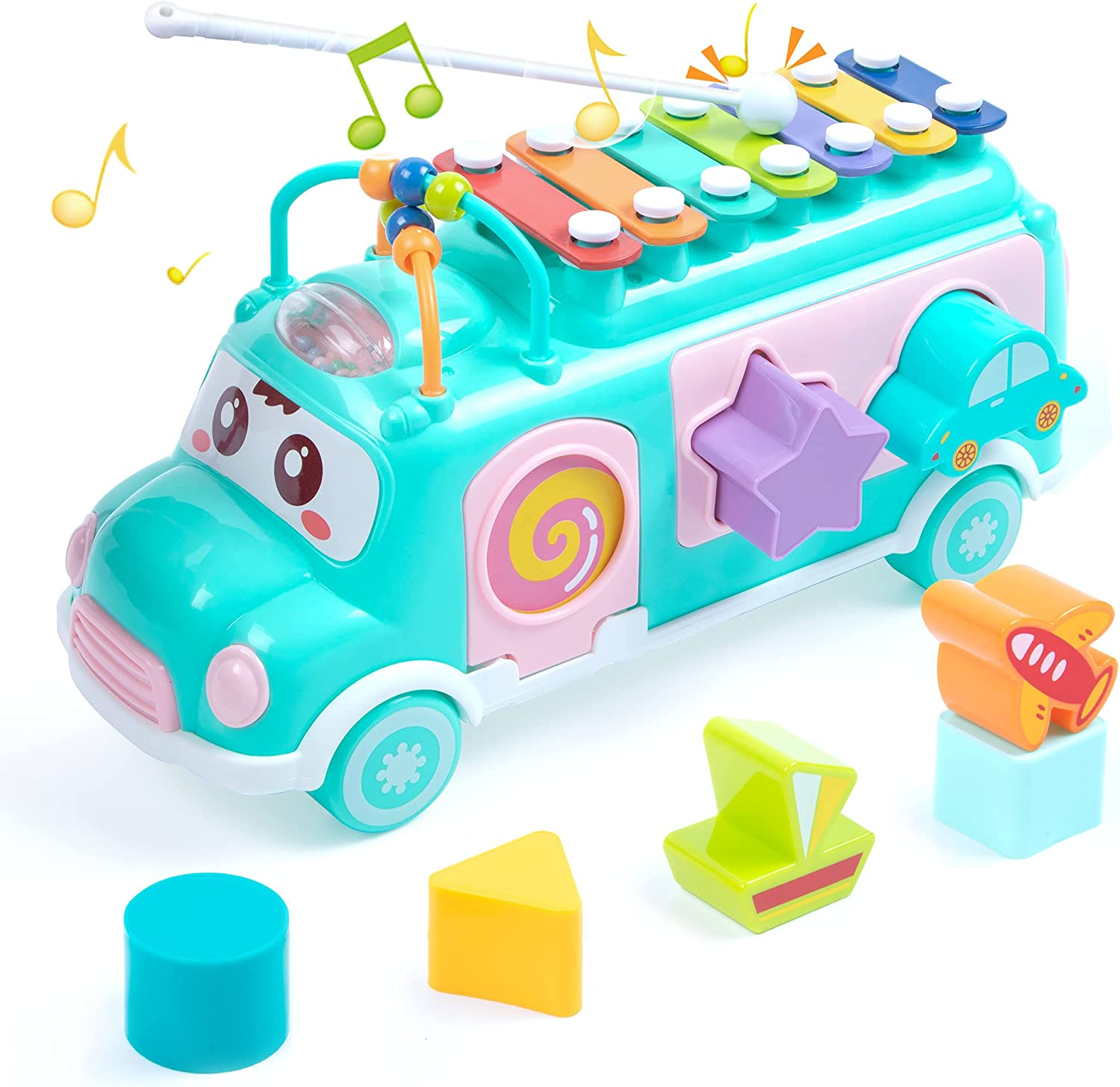 UNIH School Bus Toy, Push Infant Toy Xylophone Percussion with Safe Mallets, Learning Educational Musical Toys for Baby, Baby Toys for 1-3 Boys Girls Early Educational Toys
