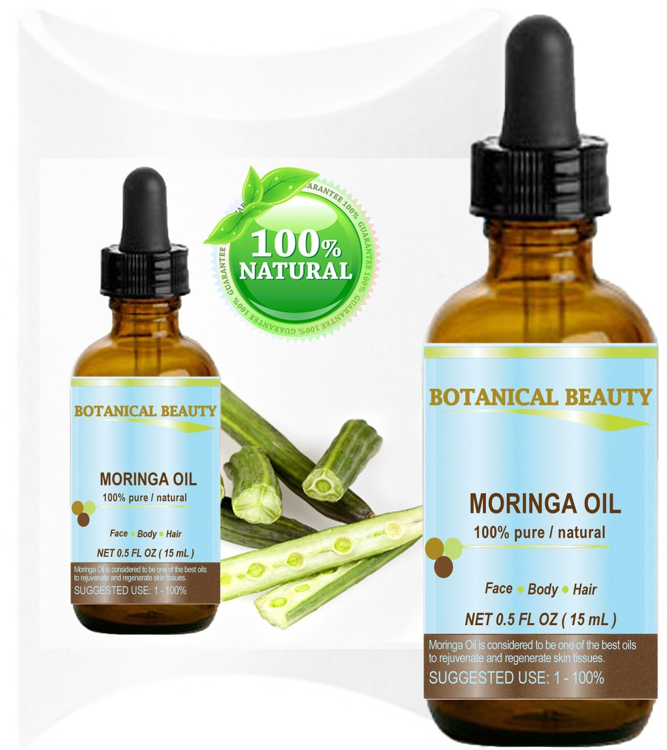 Botanical Beauty Moringa Oil for Face, Body, Hair, 0.5 fl. oz.