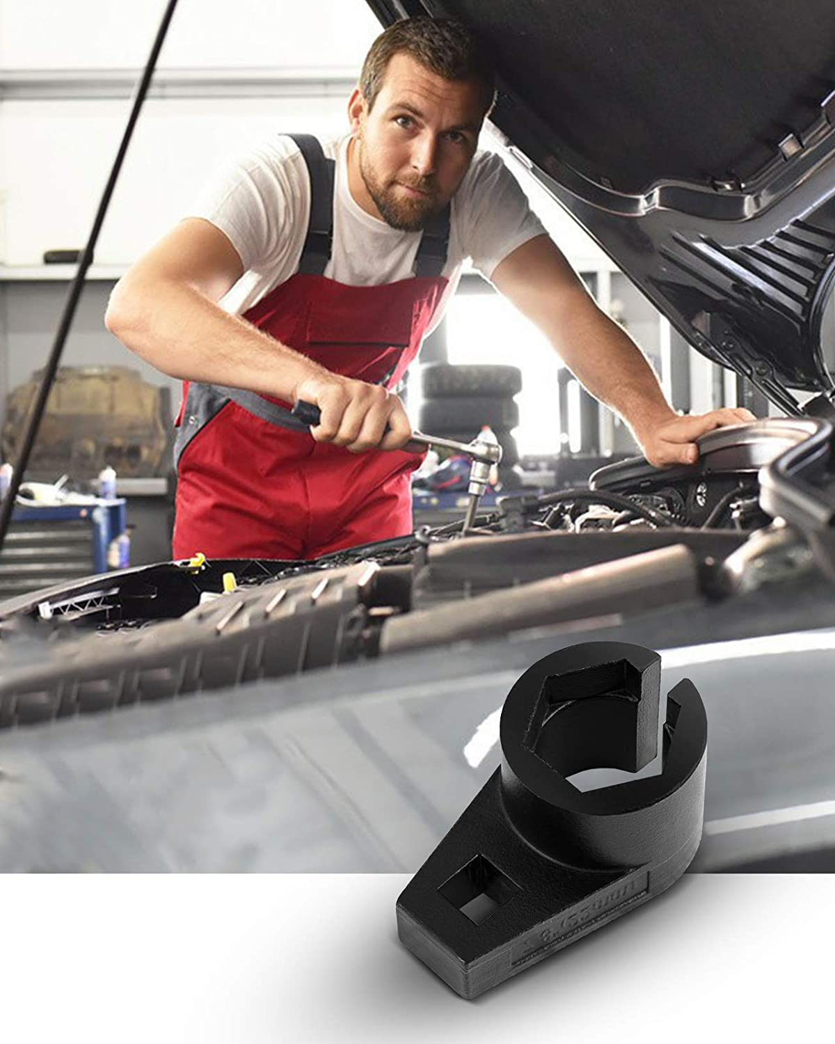 All Vehicle O2 Removal and Installation Preventing Damage to Wires Wire Gate Accesses Sensor from the Side 7//8-Inch KAX 3//8-Inch Drive Offset Oxygen Sensor Socket 22 mm