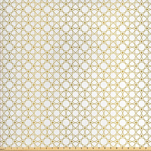 Ambesonne Moroccan Fabric by The Yard, Geometric Girih Pattern in Squares and Star Like Shapes Traditional Art Print, Decorative Fabric for Upholstery and Home Accents, Amber and (Amber Living Room Upholstery)