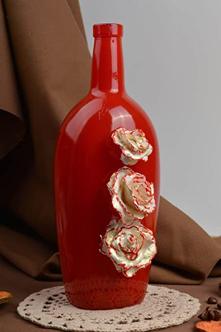 Botellas decoradas con porcelana fria