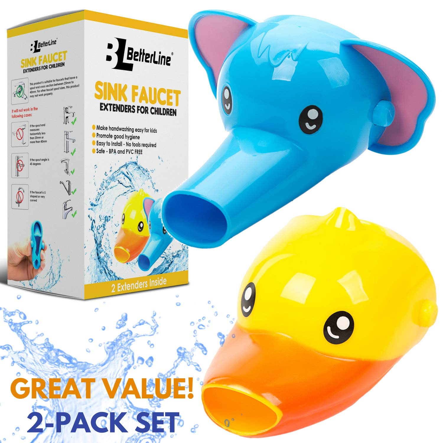 Faucet Extender for Kids - Set of 2 Animal Spout Extenders for Sink Faucets - Hand Washing for Babies, Toddlers & Children (Elephant + Duck) by Better Line