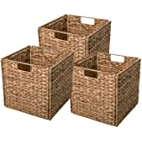 Yankee Trader Decorative Hand-Woven Small Water Hyacinth Wicker Storage Baskets, Set of Three