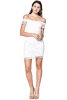ead14c6fd25 Khanomak Women s Short Sleeve Off Shoulder Lace Crochet Bodycon Dress