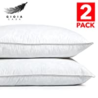 Gioia Casa NEW Twin Pack 1KG Duck Feather Pillow Premium Luxury Comfort Cotton Japara Cover - Soft