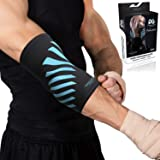 Physix Gear Elbow Brace Compression Sleeve - Neoprene Arm Support for Weightlifting, Tendonitis Pain, Tennis Elbow, Golfers Elbow, Arthritis, Bursitis, Basketball, Baseball, Football - Men & Women