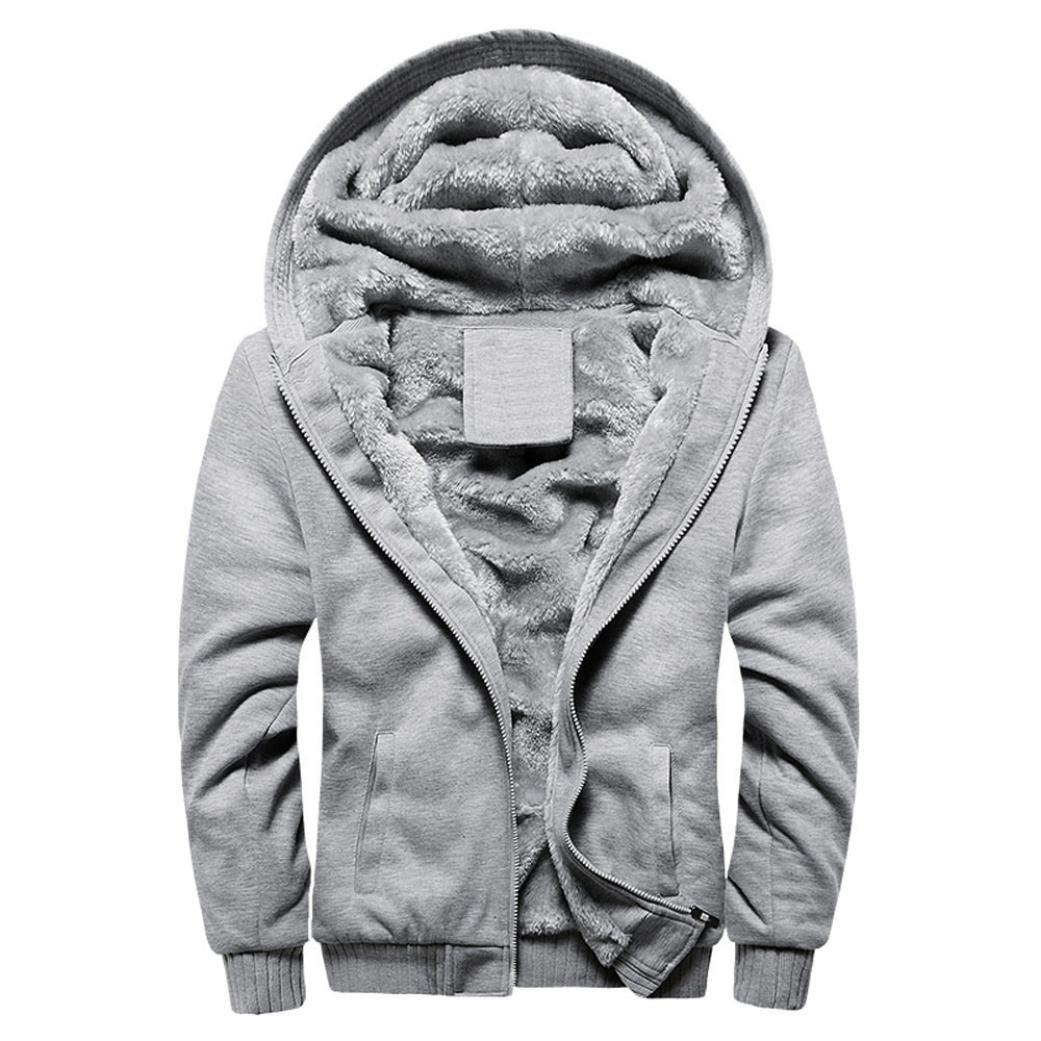 ホットセール。todaiesメンズパーカー冬暖かいフリースジッパーセータージャケットアウトドアフード付きスポーツコート服 XL グレー B077WTN57Q XL グレー グレー XL