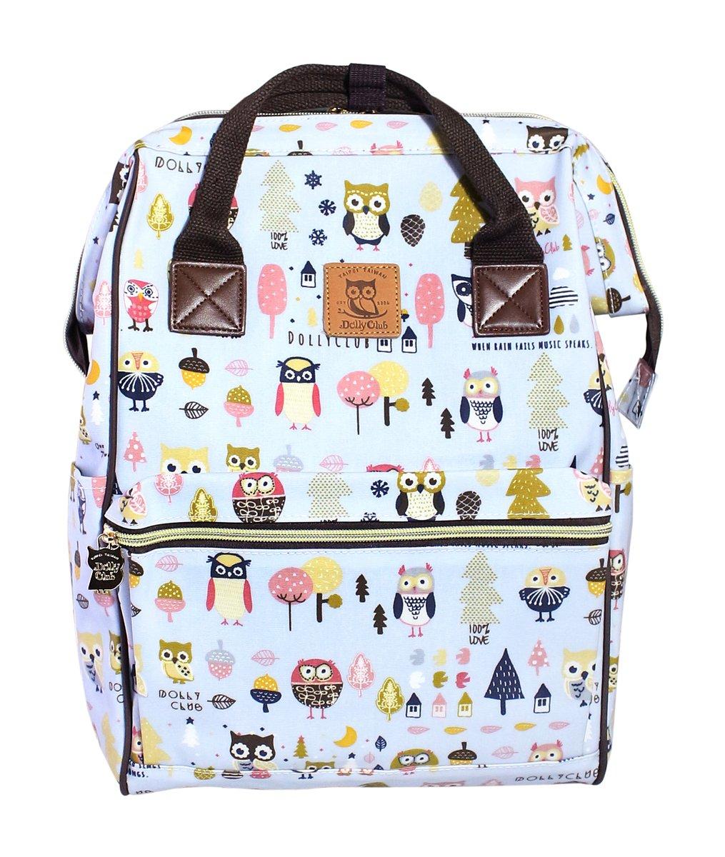 Versatile Travel Storage Organizer School Bag Campus Rucksack 10.6x6.3x15.7 Adorable Owl Family Pattern Design DollyClub Water Repellent PVC Backpack for Women Girls