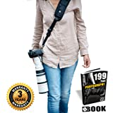 HiiGuy Camera Strap Nikon l Canon, Extra Long Neck Strap with Quick Release, Safety Tether,Perfect for All DSLR included eBook,Lens Cloth,SD Card Case and 3 Year Warranty By HiiGuy