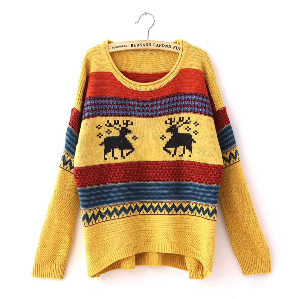 Fashiomy Girl's Knitted Sweater Autumn Winter Casual Coat Jacket Top (Yellow) by Fashionmy (Image #1)