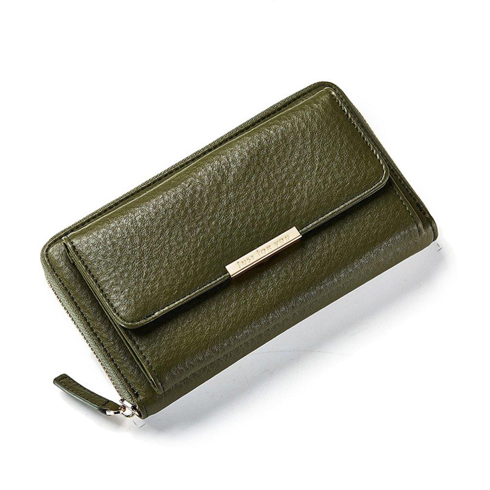 quanjucheer - Pochette per donne e ragazze, a tinta unita, in similpelle, alla moda, ideale come portafoglio o borsetta, include tracolla rosa Pink 19.7cm x 5.5cm x 11.5cm