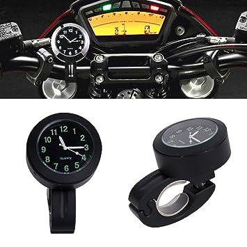 Cozymoon - Reloj Motocicleta Manillar Impermeable Negro Superficie Negro Brilla en la Oscuridad Manillar de 7/8