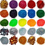 Glitter powder for slime - 25 Extra Fine Glitter Set - Iridescent Body Glitter - Nail Art - Cosmetic - Holographic Heart and Star Glitter Flakes