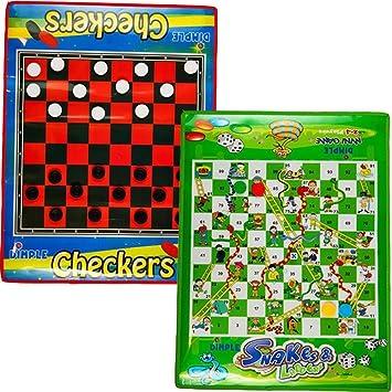 Dimple Damas de Tablero y Serpientes y escaleras, Juego de 2 tamaño Jumbo, Plegable, Resistente al Agua Alfombrillas y Piezas: Amazon.es: Juguetes y juegos