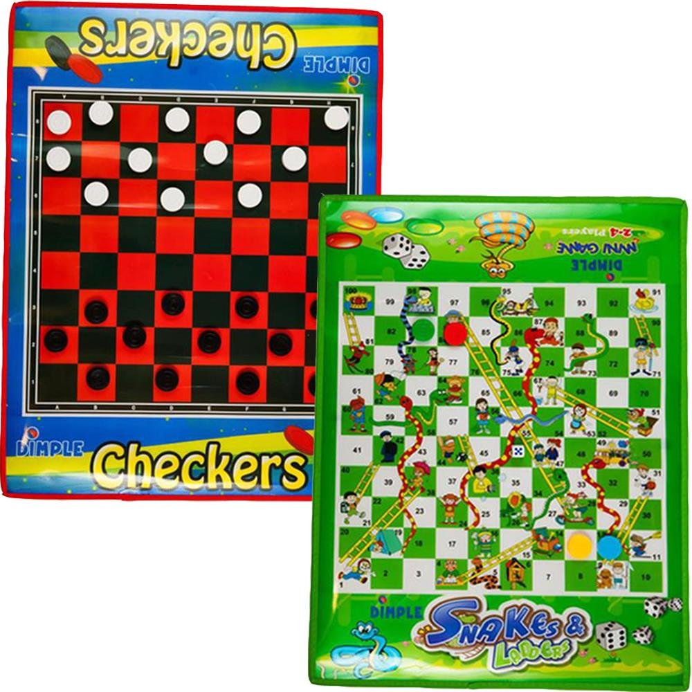 Dimple Checkers Board Game and Snakes & Ladders Game, Set of 2 Jumbo Size, Foldable, Waterproof Mats and Pieces KTDC1196M