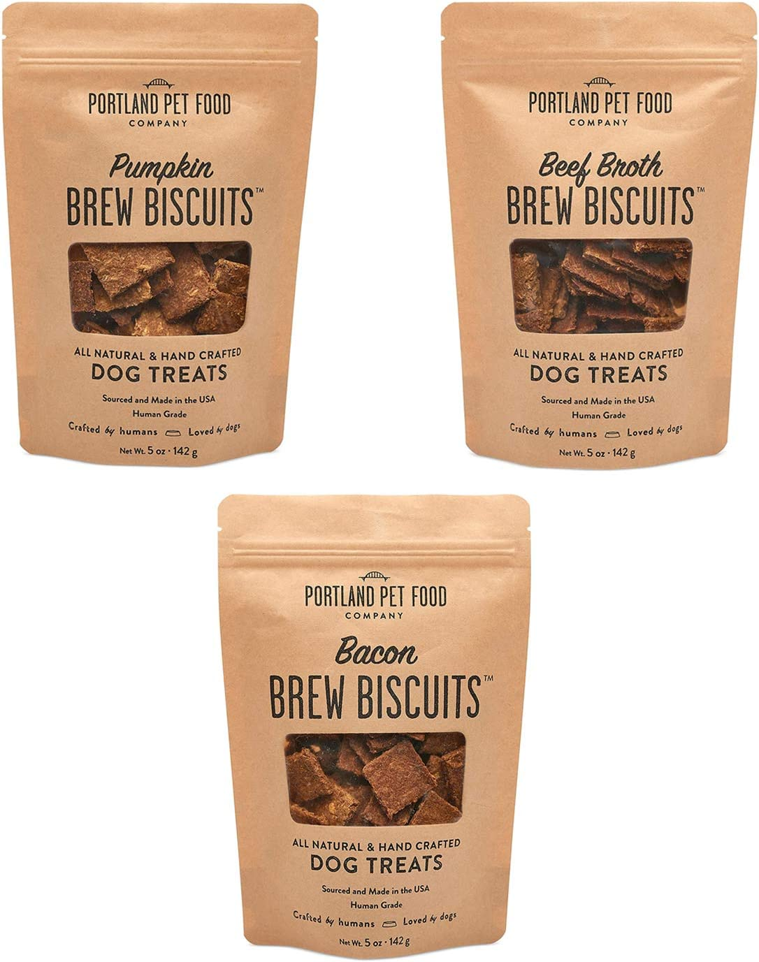 Portland Pet Food Company Brew Biscuit Dog Treats, All Natural, Human-Grade, USA Sourced and Made