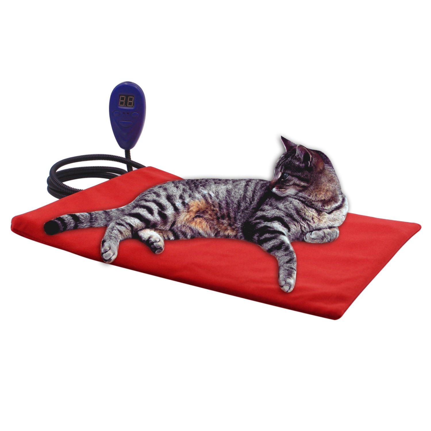Aiicioo Pet Bed Heating Pad Electric Heating Pad For Dogs Cats Waterproof Adjustable Warming Mat with Chew Resistant Cord (Red, 16'' x 12'')