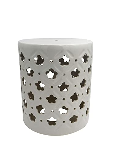 Ravenna Home Clover-Pattern Ceramic Garden Stool or Side Table, 16 H, Off White
