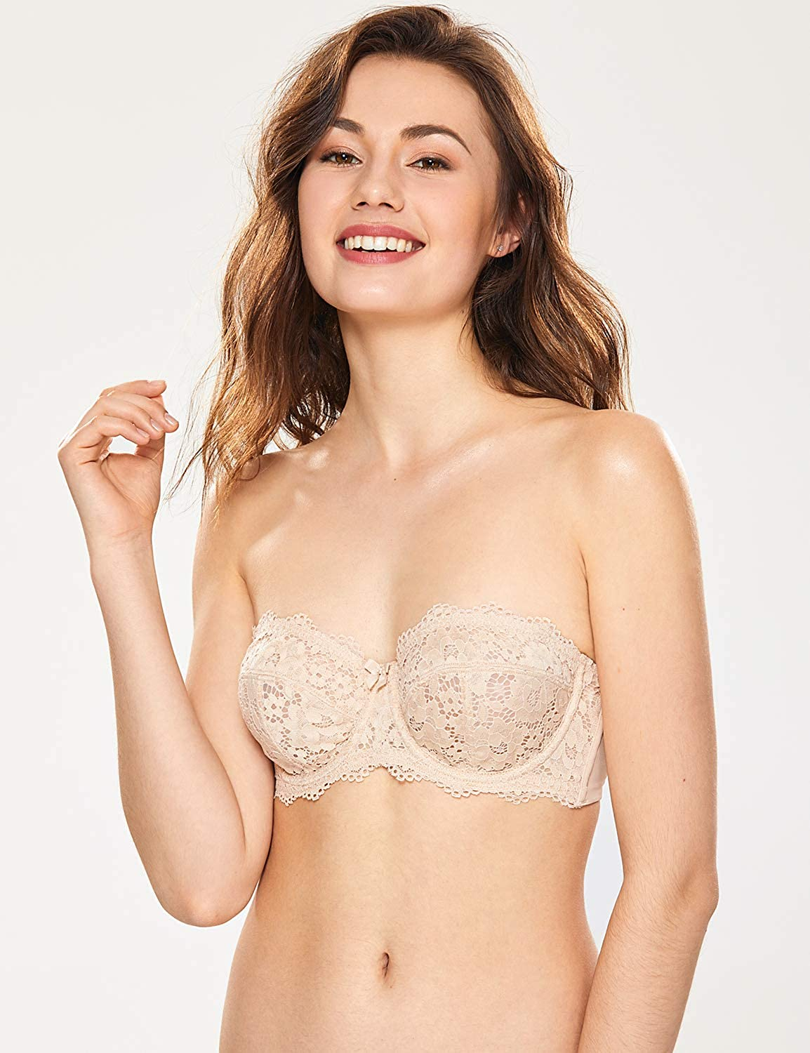 321ee45d737 DOBREVA Women s Lace Non-Padded Underwire Multiway Strapless Bra at Amazon  Women s Clothing store