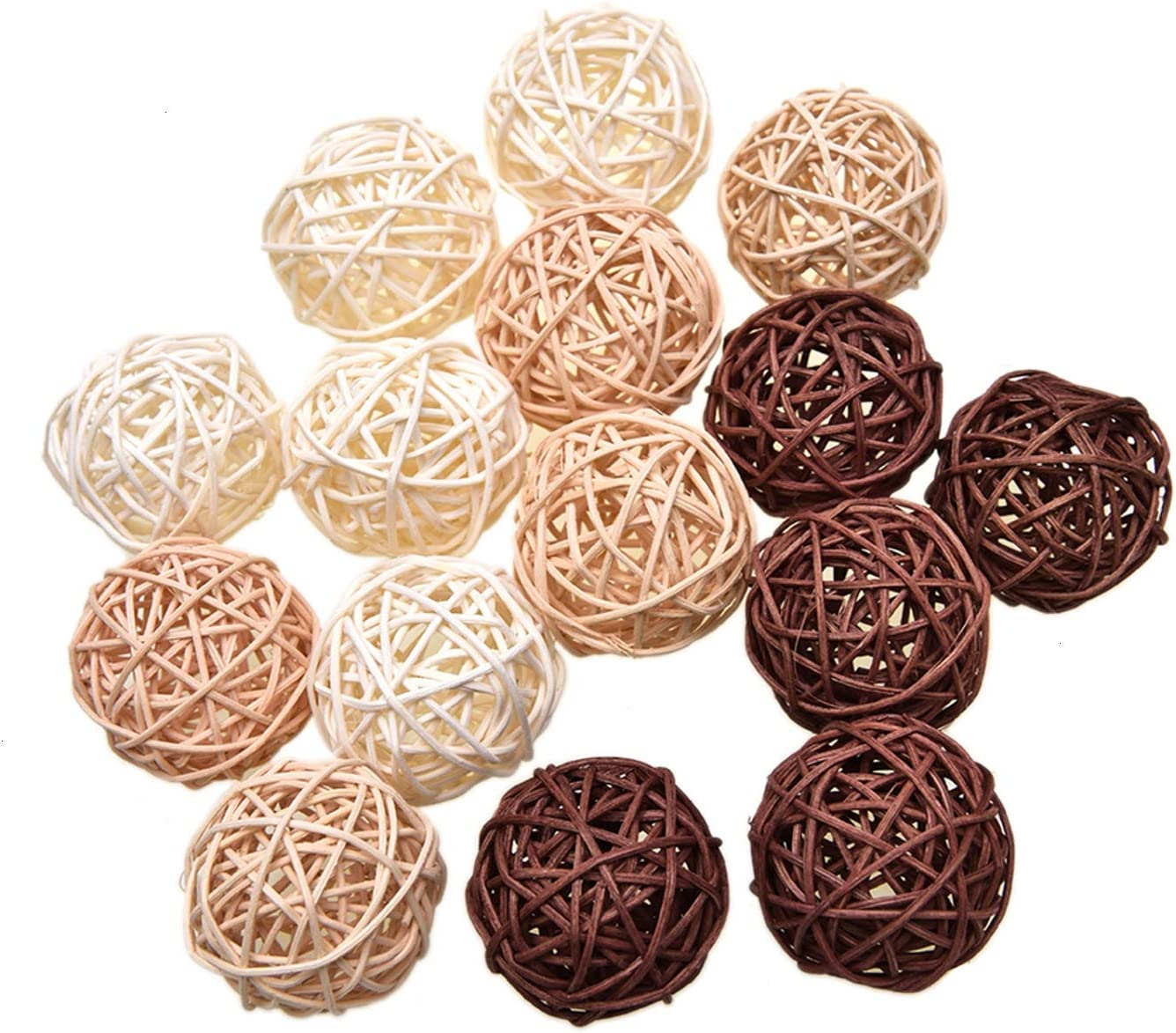 Pomeat 15pcs Wicker Rattan Balls Decorative Ball Orbs Vase Fillers Table Decor, Wedding Party Decoration