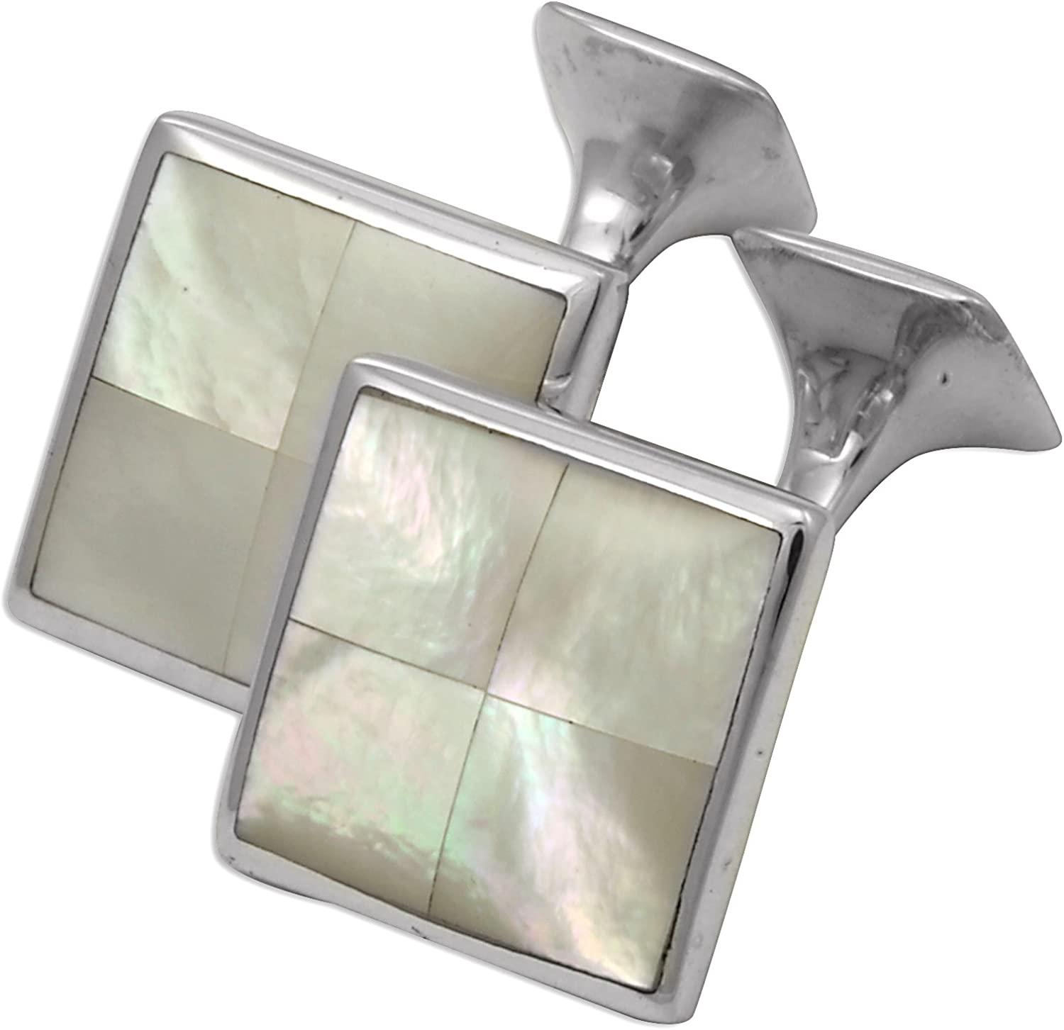 Sayers London Sterling Silver Mother of Pearl Square Cufflinks